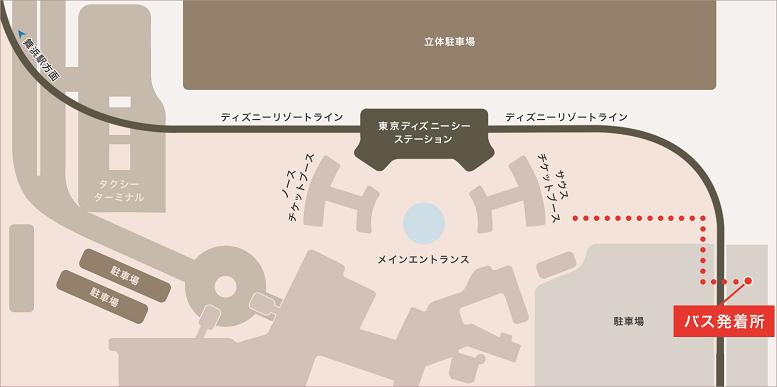 東京ディズニーシー®→無料シャトルバス乗り場のご案内