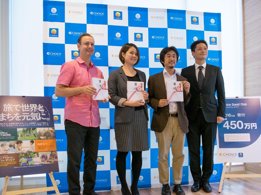 (右から)弊社 代表取締役社長 村木、JUON NETWORK様、カタリバ様、One Planet Café Zambia様